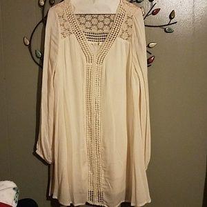 Boho style long sleeve mini dress